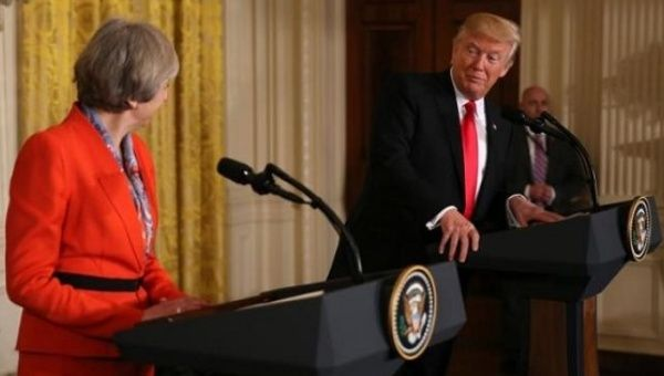 U.S. President Donald Trump and British Prime Minister Theresa May at a joint news conference at the White House in Washington, U.S., Jan. 27, 2017.