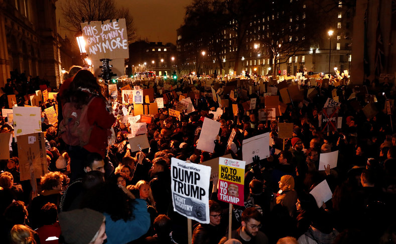 The London protests follow nationwide demonstrations across the United States.