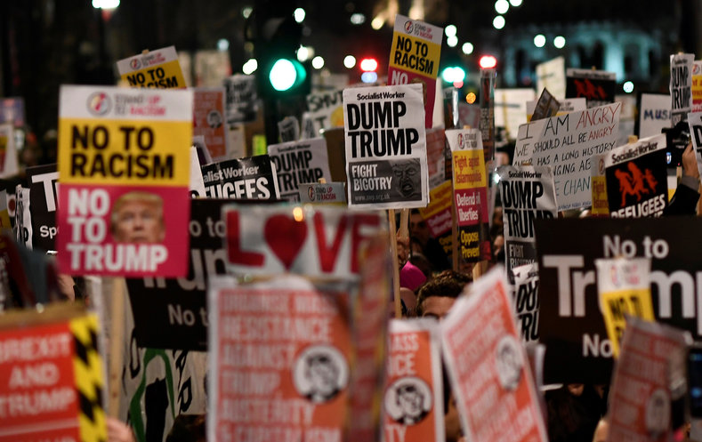 The London protesters countered Trump