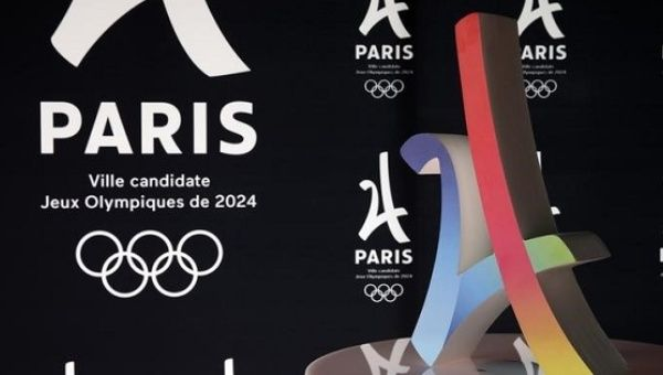 The logo of the Paris candidacy for the 2024 Olympic and Paralympic Games is pictured in Paris.
