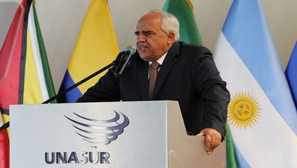 Ernesto Samper gives some of his last remarks as UNASUR secretary-general.