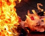 An effigy representing US President Donald Trump is burnt during a protest against his inauguration in Mexico City.