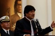 Bolivia's President Morales speaks during a ceremony at the Presidential Palace in La Paz.