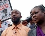 Trayvon Martin's parents at a rally on his behalf