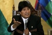 Evo Morales leads a press conference in Bolivia.