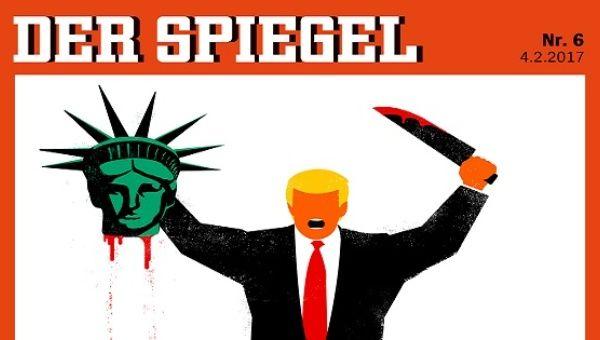 Der spiegel magazine cover depicts trump beheading us for Journalist spiegel