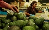 Workers pack avocados at a packaging warehouse of La Joya de los Magueyes plantation in Tancitaro.