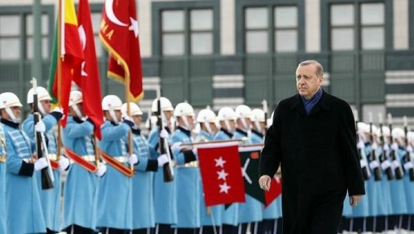 Turkish President Tayyip Erdogan reviews an honor guard at the Presidential Palace in Ankara, Turkey Feb.  08, 2017