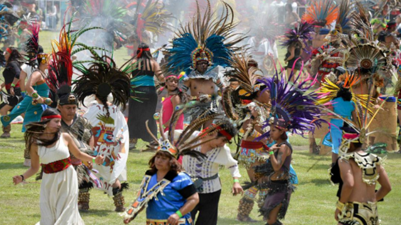 Dancers wearing traditional Indigenous dress set the record on July 17, 2016.