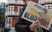A supporter of Julian Assange outside the Embassy of Ecuador in London June 24, 2013.