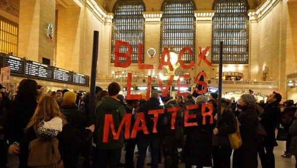 Protesters demonstrate against police brutality at Grand Central Station, New York City, Jan. 1. 2015.