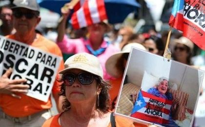 Puerto Ricans marched to demand the release of Oscar Lopez Rivera, in San Juan. June 14, 2015.