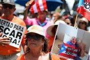 Puerto Ricans march to demand the freedom of Oscar Lopez Rivera, in San Juan, June 14, 2015.