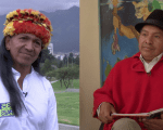 Amazon leader Carlos Viteri Gualinga (L) and Indigenous leader from the Sierra Jorge Herrera have differing views on Ecuadorean politics.