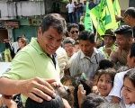 President Rafael Correa during his first presidential campaign in Ecuador