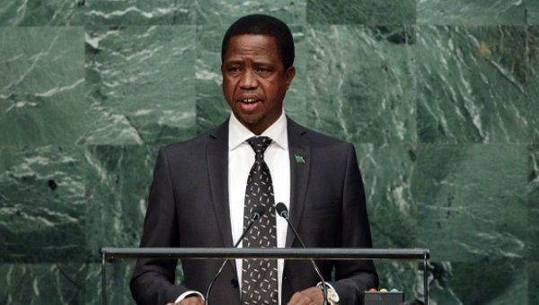 Zambian president Edgar Chagwa Lungu speaks at the UN General Assembly in New York, Sept. 29, 2015.