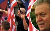 "Combination photo of U.S. neo-Nazi giving a ""Roman salute"" (L) and presidential adviser and former Breitbart chief editor Steve Bannon."