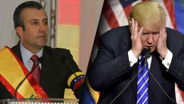 "Venezuelan Vice President Tareck El Aissami (L) and U.S. ""Insane Clown President"" Donald Trump (R)"