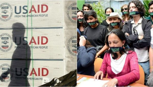 A shadow is cast on boxes of relief items from U.S. Agency for International Development (L), while staff and supporters of Accion Ecologica hold a press conference (R).