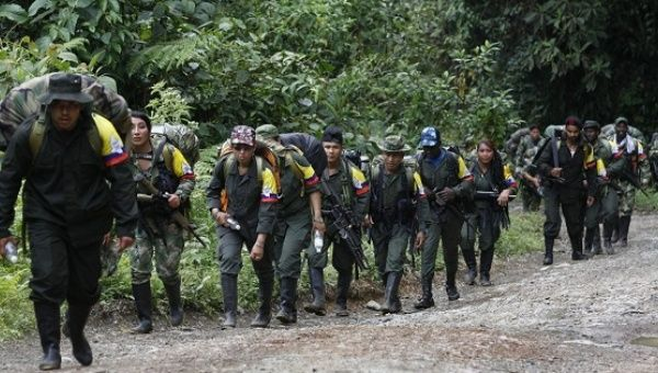 """FARC rebels marching towards a designated """"safe zone"""" in the Cauca mountains, Colombia."""