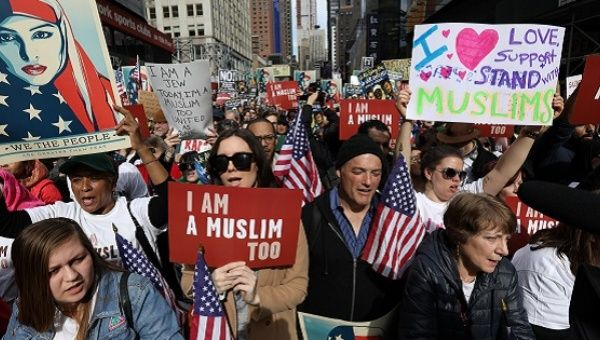"""People take part in an """"I am Muslim Too"""" rally in Times Square Manhattan, New York, U.S."""