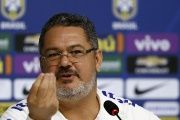 Head coach of Brazilian Olympic soccer team, Rogerio Micale, speaks during a press conference in Teresopolis, Brazil, July 19, 2016.