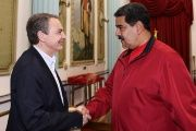 Venezuela's President Nicolas Maduro shakes hands with former Spanish Prime Minister Jose Luis Rodriguez Zapatero at Miraflores Palace, in Caracas.