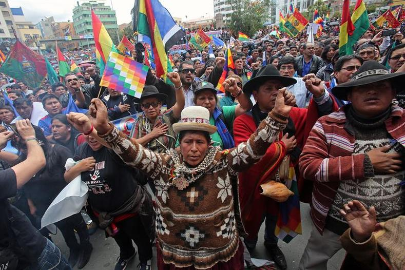 In La Paz, Aymara Indigenous leaders joined mass protests supporting Evo Morales.