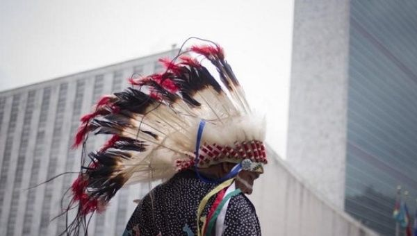 Members of the Dakota Nation (Sioux) Native American tribe arrive at the International Day of the World