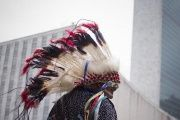Members of the Dakota Nation (Sioux) Native American tribe arrive at the International Day of the World's Indigenous Peoples outside the U.N.