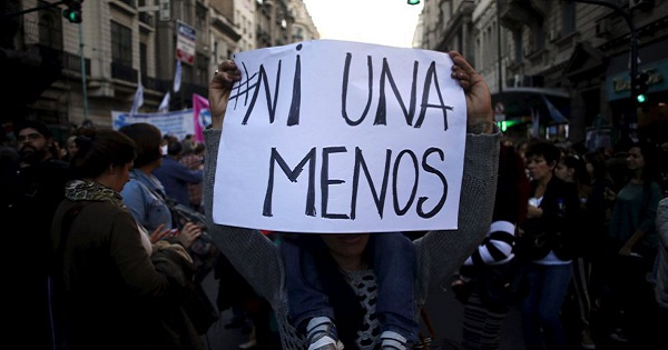 Poster with slogan #NotOneMore during a march in Buenos Aires in June 2015.