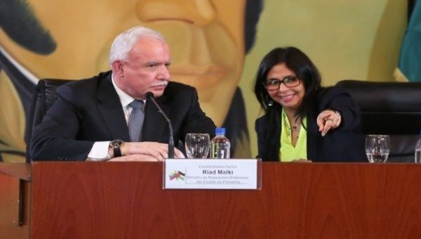 Palestinian Foreign Minister Riad Malki and Venezuelan Foreign Minister Delcy Rodriguez conduct a joint press conference.