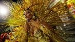 A reveler parades for the Tom Maior samba school during the Carnival in Sao Paulo, Brazil, Feb. 24, 2017.