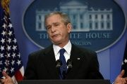 Former U.S. President George W. Bush holds a press conference at the White House, Dec. 4, 2007.