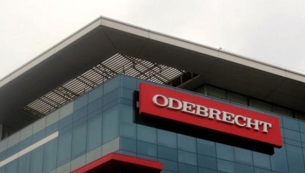 A sign of the Odebrecht Brazilian construction conglomerate is seen at their headquarters in Lima, Peru, Jan. 5, 2017.
