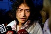 Indian human rights activist Irom Sharmila speaks to the media outside a prison hospital in Imphal.