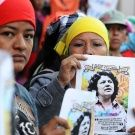 Lenca protesters display images of the murdered political activist Berta Cáceres at a protest in Tegucigalpa.