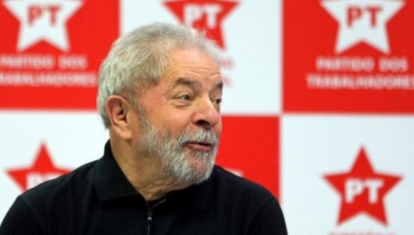 Former Brazilian President Lula da Silva at a Workers Party conference.