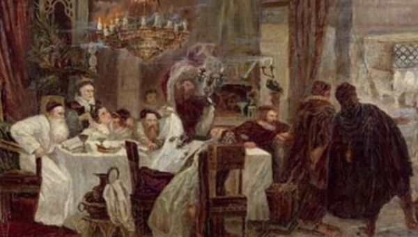 Marranos, or Jews in hiding, celebrate a secret Seder in a 1892 painting by Moshe Maimon.