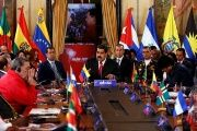 Venezuela's Nicolas Maduro speaks during an ALBA summit to mark fourth anniversary of the death of Venezuela's late President Hugo Chavez.