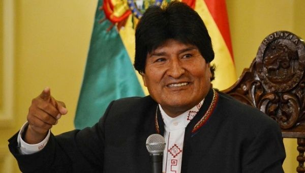 Evo Morales speaks during a news conference at the presidential palace in La Paz, Bolivia.