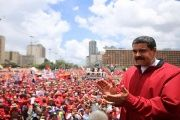 President Nicolas Maduro addresses a crowd of government supporters, eager to defend the government against opposition calls for a recall referendum.