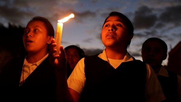 A vigil for victims after a fire broke out at the Virgen de Asuncion home in San Jose Pinula, on the outskirts of Guatemala City, March 9, 2017.