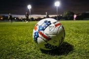 A major league Soccer ball sits on the field prior to a game between the Philadelphia Union and the Montreal Impact at Joe DiMaggio Sports Complex.