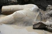 A statue workers say depicts Pharaoh Ramses II who ruled Egypt over 3,000 years was unearthed on Thursday in the Matariya area in Cairo, Egypt, March 9, 2017.