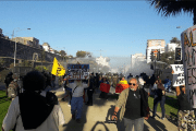 Police fire tear gas at TPP protesters in Chile.