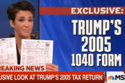 MSNBC host Rachel Maddow shows the two pages of U.S. President Donald Trump's 2005 tax returns.