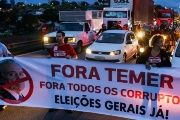 Protestors block the Presidente Dutra highway during a strike against Brazilian Social Welfare reform project from government, in Sao Jose dos Campos.