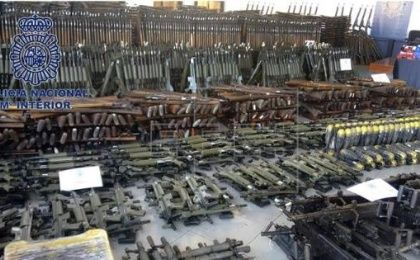 Image handout dated Mar. 14, 2017, supplied by the Spanish National Pólice showing part of the large cache of refurbished assault weapons, ready for their sale in the black market impounded during a joint Spanish Pólice / Europel operation
