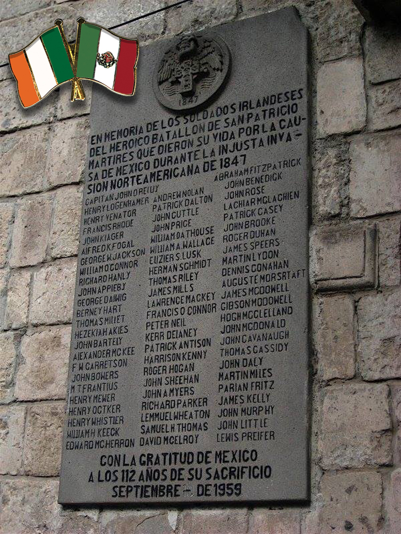 "Commemorative plaque placed at the San Jacinto Plaza in the district of San Ángel, Mexico City in 1959: ""In memory of the Irish soldiers of the heroic St. Patrick"